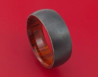 Black Zirconium and Cocobolo Hard Wood Sleeve Ring Custom Made