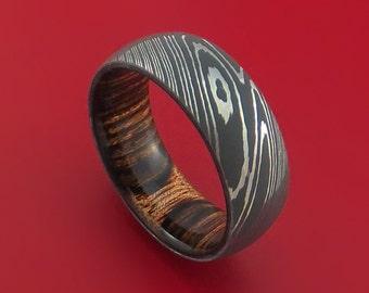 Damascus Steel Ring with Heritage Brown Hardwood Interior Sleeve Custom Made