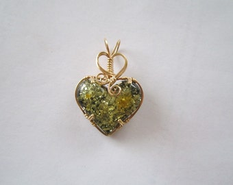 green Baltic Amber  Heart Pendant wirewrapped in 14 k gold filled wire
