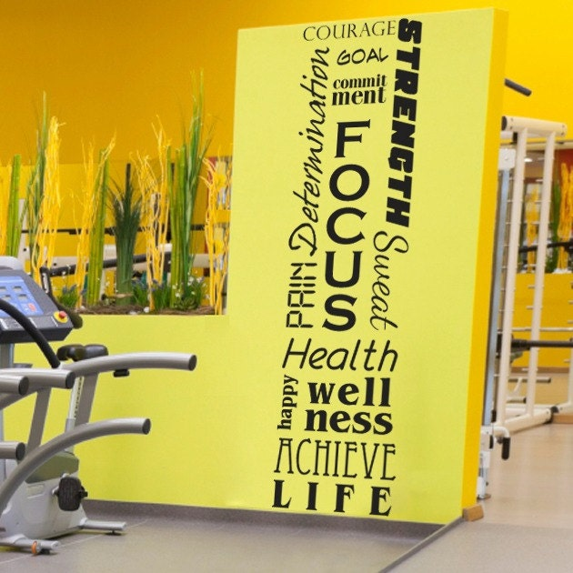 Home Gym Designs For Walls: Full Wall Motivational Inspirational Fitness Decal Mural