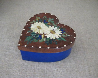 Handpainted Paper Mache Heart Box /  Paper Mache Box with RustyTin Lid /  Keepsake Heart Box for Home or Wedding Decor