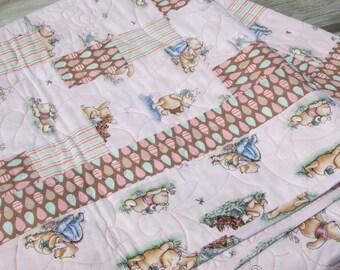 Baby Girl Quilt  Classic Winnie the Pooh, Tigger, Baby Bedding, Crib Bedding, Nursery Decor