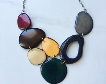 Tagua nut jewelry. Maroon Navy Green Gray Necklace. READY TO SHIP Jewelry. Mustard Necklace. Cranberry necklace. Sela Designs. Fair trade.