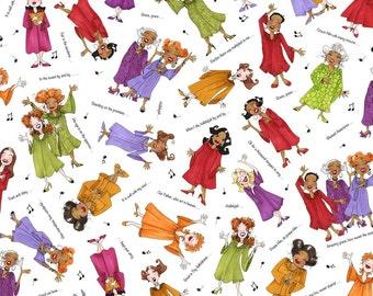 Loralie Designs Church Ladies White Sing It Sister fabric - 1 yard