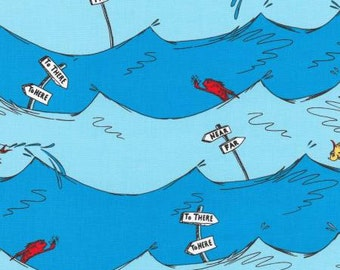 Robert Kaufman Blue Dr. Seuss One Fish Two Fish Water Fabric - 1 yard