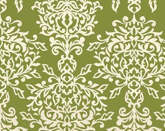 Riley Blake Designs Botanique Damask Green Fabric  - 1 yard