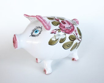 Vintage Italian Pottery White and Pink Floral Piggy Bank