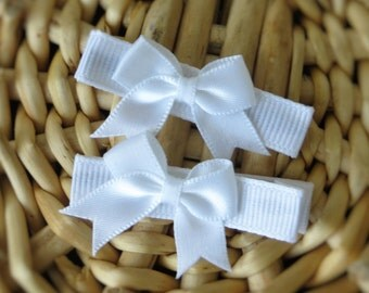 Mini Bow on Lined Alligator Clips, Baby Girl Hairbows, Baby Hair Clips, Mini Bow Hair Barrettes, Baby Hair Barrettes, Infant Bows