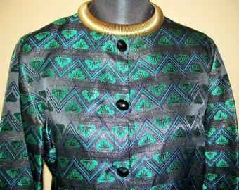 Vintage FERRANTE I.Magnin Ornate Colorful Jacket Sz 8/42