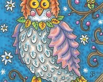 HOOT OWL Folk Whimsy Bird Leaves Portrait Fantasy Art ACEO Susan Brack Ebsq