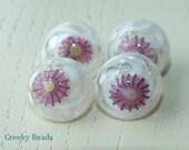 Handmade Lampwork Shank Buttons - Pinky - Creeky Beads