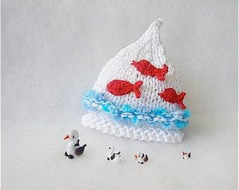 Newborn sun hat Baby summer cotton hat Newborn Beach Hat Photo prop Baby fashion Animal baby hat Kids cotton hat White blue red hat goldfish