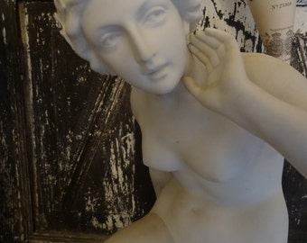 Vintage Awesome Nude Lady Statue Shabby Cottage Chic French