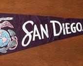 Vintage San Diego California Eagle - Semper Fidelis Felt Pennant // Travel Souvenir