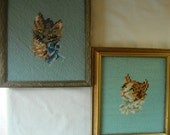 2 Vintage Signed Dated 1979 Needlepoint Framed CATS KITTENS Feline Friends Nicely Framed Stitch Art Cat Lover Small Wall Art Decor Hand Made