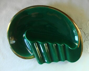 Vintage EVERART Pottery Cigar Ashtray Ceramic Pottery Deep Emerald Green Artist Palette  Art pottery Ever Art Pottery California USA Pottery