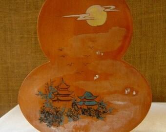 ANTIQUE JAPANESE VASE Artist Signed Hand Carved Footed Vase Hand Made Japan Wood Vase Art Vase Antique Japan Artist Vase Village Scene