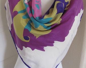 "Anne Klein // Amazing White Purple Soft Silk Scarf  // 31"" Inch 78cm Square // Best of the Best"