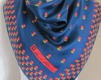 "Anne Klein Scarf  // Beautiful Blue Floral Silk Scarf // 25"" Inch 63cm Square"