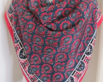 "Ginnie Johansen Scarf // Red Floral Large Soft Silk Scarf // 35"" 90cm Square // Best of the Best"