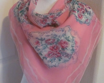 "Beautiful Antique Pink Sheer Silk Scarf  // 32"" Inch 81cm Square"