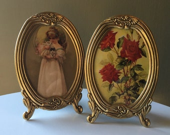 Vintage Gold Oval Picture Frame Set