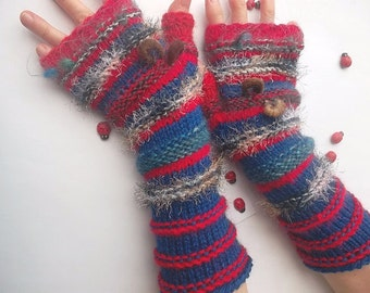 HAND KNITTED GLOVES / Women Accessories Fingerless Mittens Striped Warm Wrist Warmers  Crochet Winter Arm Romantic Cabled Gift Feminine 963