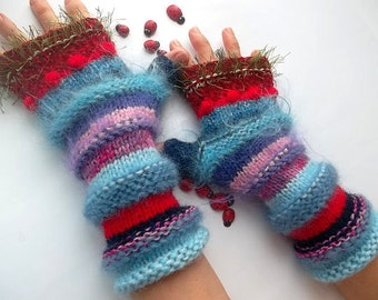 HAND KNITTED GLOVES / Women Accessories Fingerless Mittens Striped Warm Wrist Warmers  Crochet Winter Arm Romantic Cabled Gift Feminine 1106