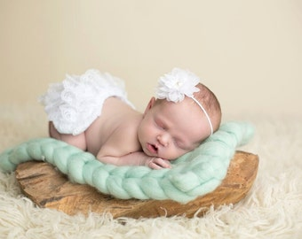 White Lace Bloomer Set, Bloomers and Headband, Baby Girl Prop, Newborn Photo Prop, White Diaper Cover, Baby Bloomers