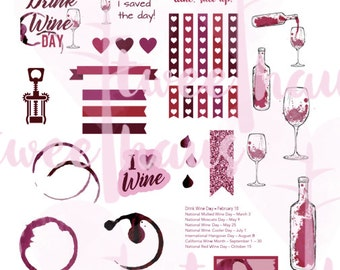 PRINTABLE Wine Holidays Sticker Set for Erin Condren and Other Planners