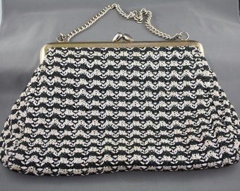 Vintage Hand Bag Clutch Evening Purse Rafia Black and White 1950s