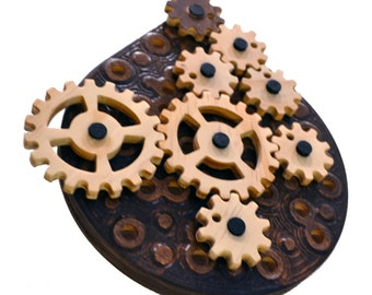 ZenDrop -  kinetic wall art and puzzle - moving Wood Gears