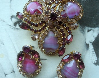 "Usigned Beauty. Dimensional Tiffany Prong Set Amethyst Stripe Stone ""Givre"" Brooch and Earring Demi Parure  1960's"