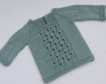 Hand Knit Baby Pullover. Mint Lace Baby Pullover. Knit Baby Sweater. NB - 3 months