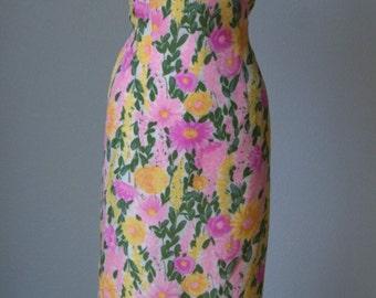 1960s Mr Blackwell Floral Print Silk Dress for Spring-Summer // Fishtail Hem // Dressy Day Wear // Medium Large