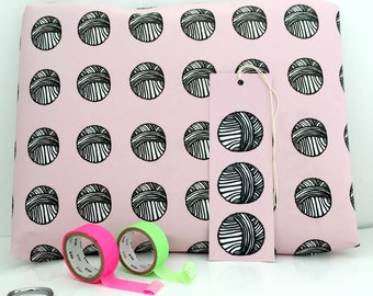 Knitting Gift Wrap | Knitters Wrapping Paper | Knitting Gift Tag | Knitting Gift | Gifts For Knitters | Pink Giftwrap