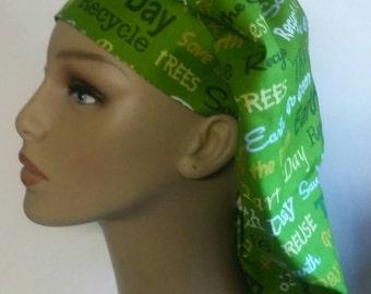 Green earth day scrub hat