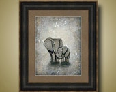 PRINT or GICLEE Reproduction -- Elephant Mom and Baby, Nursery Art, Neutral Colors - 12 x 16 My Love For You by Britt Hallowell