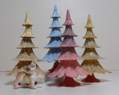 Plastic Mica Glitter Trees Hong Kong Pastel Color Trees for Putz Christmas Display