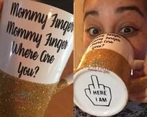 Mommy Finger Glitter Mug/Mommy Finger song/ Daddy finger/WHITE MUG