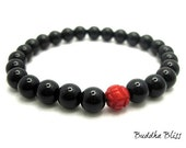 Black Onyx and Red Coral Bead Bracelet
