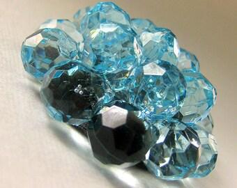 Aqua Blue Lucite Cluster Cabochon with Nylon Shank - 50mm x 20mm  (Qty 1)