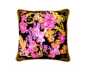 "Versace ""Pink Orchids"" Pillow - Pink/Gold/Black"