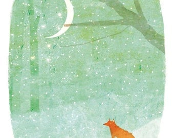 LITTLE FOX in the SNOW art print // winter forest illustration // woodland home decor