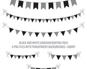 Black Bunting Clip Art Black and White Gingham Instant Download Printable Bunting Black Gingham Flag Bunting Penant Bunting