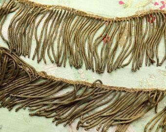 "1 foot Antique metal bullion fringe trim 2.75"" wide  art deco gold ribbon ribbonwork millinery trim flapper 1900s 1920 edwardian millinery"