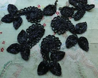 Antique lot  glass bead trim lot glass victorian jet black silk soutache gothic millinery hat cloche flapper doll dress trim