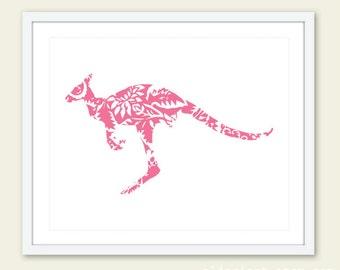 Kangaroo Art Print - Floral Kangaroo Wall Art - Baby Nursery Decor - Pink Kangaroo - Custom Color