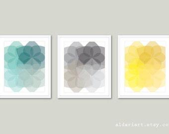 Geometric Prints - Abstract Flower Art - Mid Century Modern Wall Art - Set of 3 - Geometric Art - Blue Grey Yellow Colors - Aldari Art
