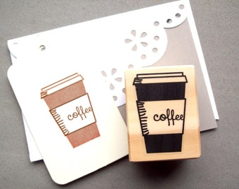 Coffee Cup Stamp , Latte Espresso Paper Disposable Cup Rubber Stamp